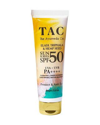 Shop TAC The Ayurveda Co. Eladi,Triphala & Hemp Seed SPF 50 SUNSCREEN UVA + UVB | PA++++ 80gm/2.8 oz.-Front