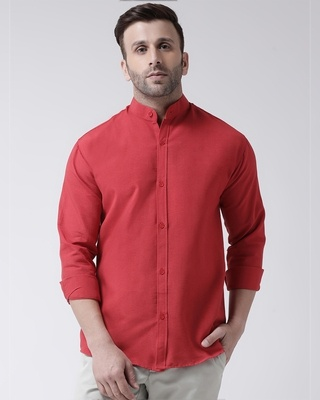 Shop Khadio Full Sleeves Cotton Casual Chinese Neck Shirt-Front