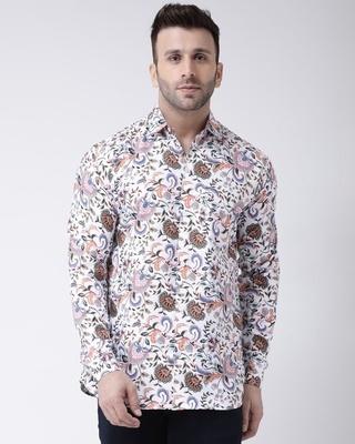 Shop Khadio Full Sleevess Cotton Casual Printed Shirt-Front