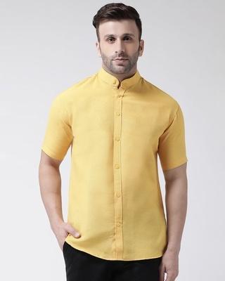 Shop Khadio Half Sleeves Cotton Casual Chinese Neck Shirt-Front