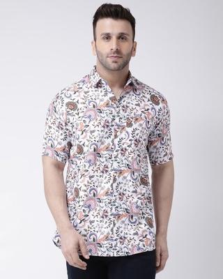 Shop Khadio Half Sleevess Cotton Casual Printed Shirt-Front