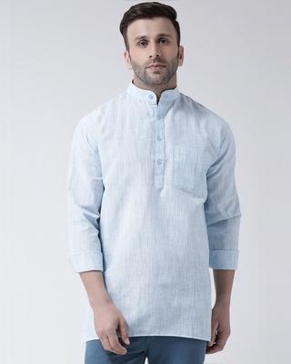 Shop KHADIO Mens Short Kurta Full Sleeves-Front