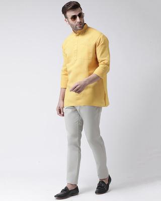 Shop Khadio Mens Pure Cotton Solid Short kurta in Full Sleeve-Front