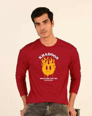 Shop Khadoos Full Sleeve T-Shirt Bold Red-Front