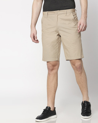 Shop Khaki Textured Men's Shorts-Front