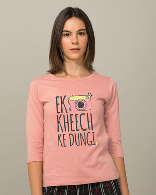 Shop Kheech Ke Round Neck 3/4th Sleeve T-Shirt-Front
