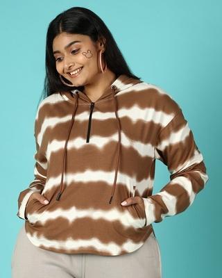 Shop Killer Brown Plus Size Tie & Dye AOP T-Shirt-Front