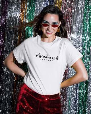 Shop Kindness Matters Boyfriend T-Shirts White-Front