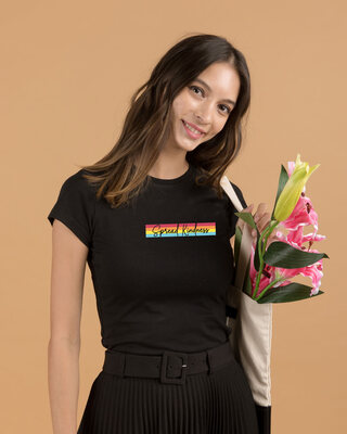 Shop Kindness Rainbow Half Sleeve Printed T-Shirt Black-Front