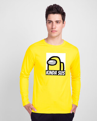 Shop Kinds Sus Imposter Full Sleeve T-Shirts Pineapple Yellow-Front