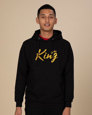 Shop King Gold Print Fleece Hoodies-Front