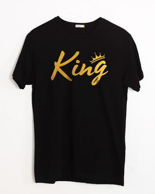 Shop King Gold Print Half Sleeve T-Shirt-Front
