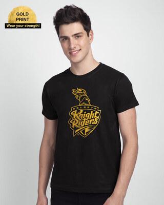 Shop KKR Foil Logo Half Sleeve T-Shirt-Front