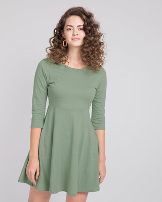 Shop Laurel Green Flared Dress-Front