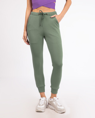 Shop Laurel Green Fleece Joggers-Front