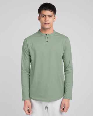 Shop Laurel Green Full Sleeve Henley T-Shirt-Front