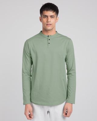 Shop Laurel Green Full Sleeve Henley T-Shirt-Front