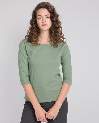 Shop Laurel Green Round Neck 3/4th Sleeve T-Shirt-Front