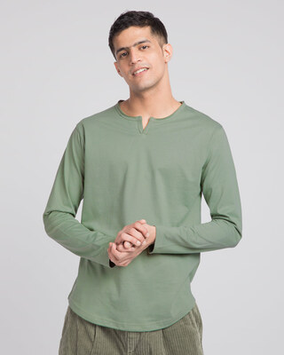 Shop Laurel Green Slit Neck Full Sleeve Henley T-shirt-Front