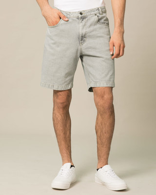 Shop Lava Grey Denim Shorts-Front