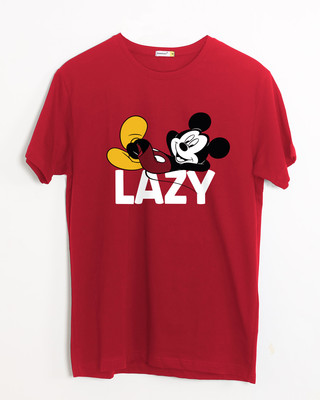 Shop Lazy Mickey Half Sleeve T-Shirt-Front