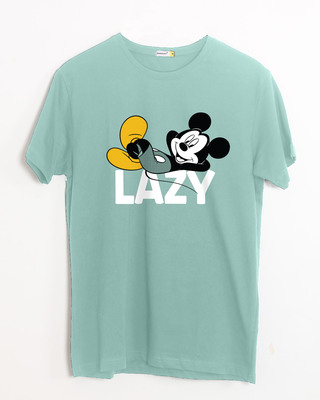 7767eceb40b white stub Shop Lazy Mickey Half Sleeve T-Shirt (DL)-Front