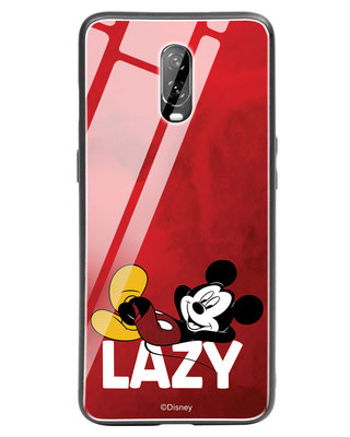 Shop Lazy Mickey OnePlus 6T Glass Mobile Cover-Front