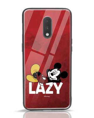 Shop Lazy Mickey OnePlus 7 Glass Mobile Cover-Front