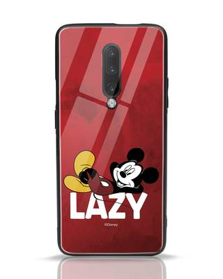 Shop Lazy Mickey OnePlus 7 Pro Glass Mobile Cover-Front