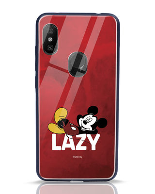 Shop Lazy Mickey Xiaomi Redmi Note 6 Pro Glass Mobile Cover-Front