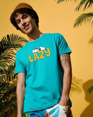 Shop Lazy Snoopy Half Sleeve T-Shirt (PNTL) Tropical Blue-Front