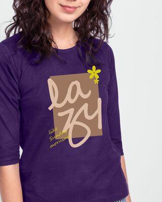 Shop Lazy Sunday Round Neck 3/4 Sleeve T-Shirts Parachute Purple -Front