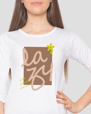 Shop Lazy Sunday Round Neck 3/4 Sleeve T-Shirts White-Front