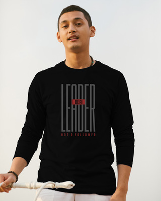 Shop Leader Full Sleeve T-Shirt Black-Front
