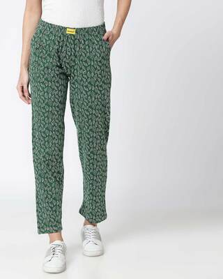 Shop Leaves Pattern Green Knitted Pyjamas-Front