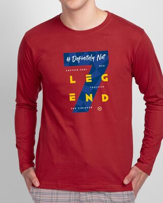Shop Legend 7 Full Sleeve T-Shirt Bold Red-Front