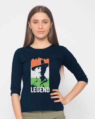 Shop Legend Bhagat Singh Round Neck 3/4th Sleeve T-Shirt-Front