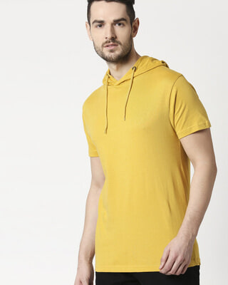 Shop Lemon Curry Half Sleeve Hoodie T-Shirt-Front