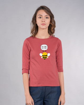 Shop Let It Beee Round Neck 3/4th Sleeve T-Shirt-Front