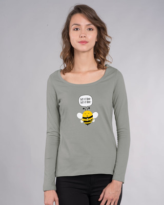 Shop Let It Beee Scoop Neck Full Sleeve T-Shirt-Front