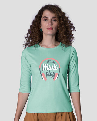 Shop Let It Play Headphones Round Neck 3/4th Sleeve T-Shirt-Front