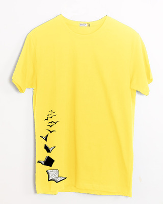 Shop Let Me Fly Books Half Sleeve T-Shirt Empire Yellow-Front