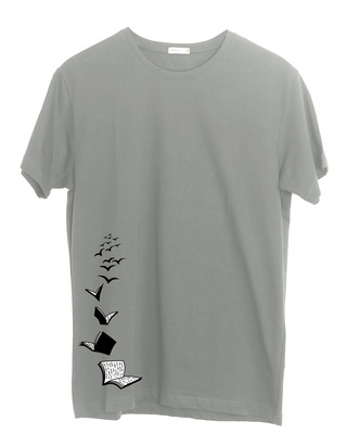 Shop Let Me Fly Books Half Sleeve T-Shirt Meteor Grey -Front