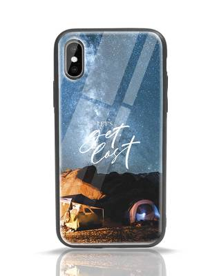 Shop Lets Get Lost Space iPhone X Glass Mobile Cover-Front