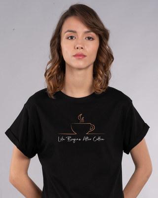 Shop Life Begins After Coffee Boyfriend T-Shirt-Front