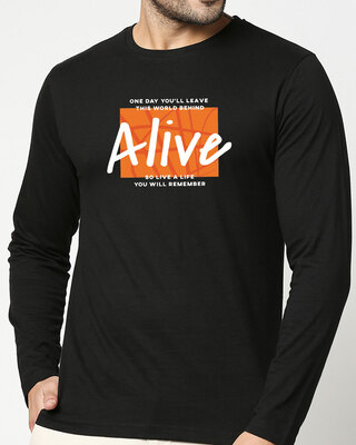 Shop Life You Remember Full Sleeve T-Shirt Black-Front