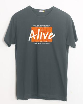 Shop Life You Remember Half Sleeve T-Shirt Nimbus Grey-Front