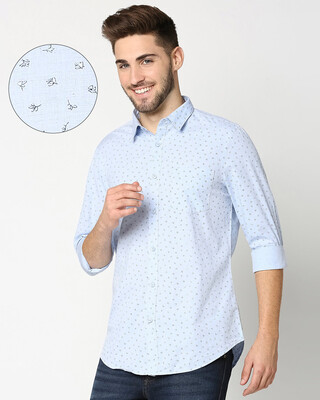 Shop Light Blue Cotton Melange Shirt-Front