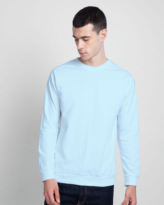 Shop Light Blue Melange Fleece Sweater-Front