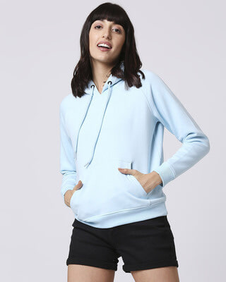 Shop Light Blue Melange Hoodie Sweatshirt-Front